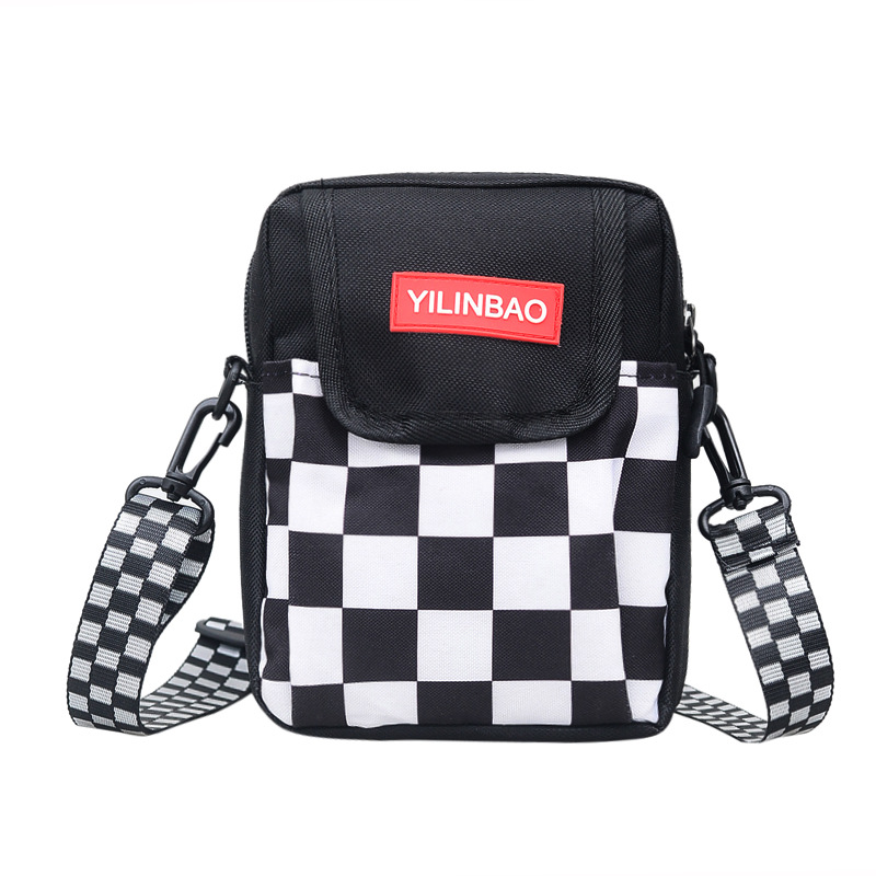 Messenger-Bags Student Shoulder Women Crossbody Plaid Unisex Schoolbag Panelled Lattice