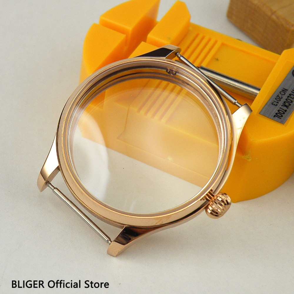 44MM Rose Golden Stainless Steel Watch Case Fit For ETA 6497 6498 Hand Winding Movement C12 44mm polished stainless steel watch case with coin bezel fit for eta 6497 6498 hand winding movement c6