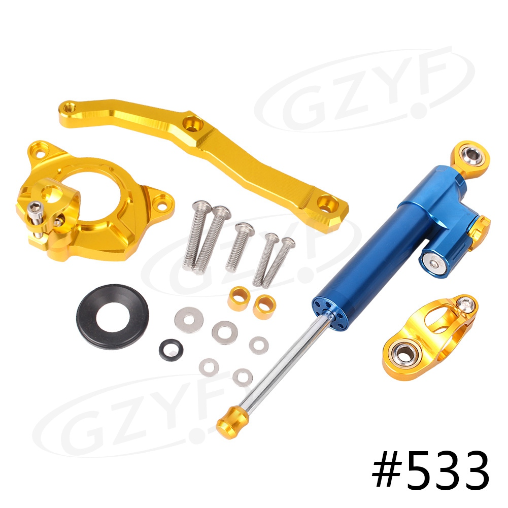 CNC Steering Damper Stabilizer w/ Bracket Mounting Kit Satety Control for Kawasaki Z1000 2010 2011 2012 2013 Aluminum Alloy