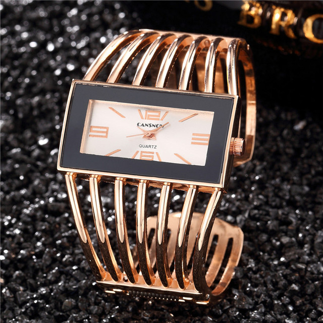 2018 Women Brand Luxury Bangle Watch Fashion Rose Gold Bracelet Women Dress Cloc
