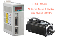 1set 110ST M05030 AC SERVO MOTOR 5 0N M 1 5KW WITH DRIVER AND CABLE Free
