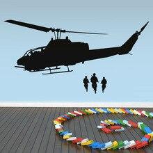 Silueta de Tranporte de BRICOLAJE Etiqueta de La Pared Del Arte Del Vinilo Niños Habitación Tatuajes de Pared Decorativos Ejército Helicóptero Wall Decals Y-640