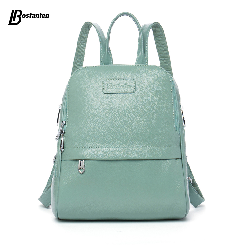 Bostanten Fashion Genuine Leather Backpack Women Bags Preppy Style Backpack Girls School Bags Zipper Kanken Leather Backpack