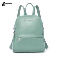 Bostanten Fashion Genuine Leather Backpack Women Bags Preppy Style Backpack Girls School Bags Zipper Kanken Leather