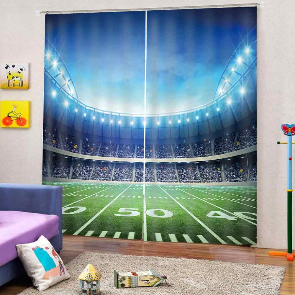 الأوروبية غرفة نوم أطفال غرفة تخصيص الستائر استاد رياضي المنزل والحديقة أعلى البائع 3D الستائر