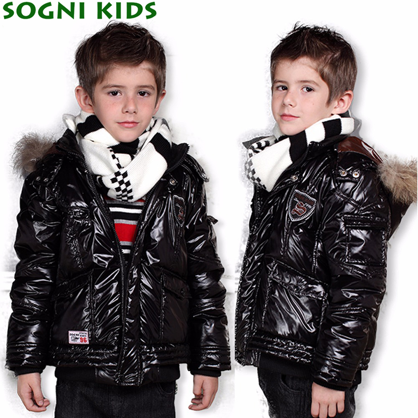 SOGNI KIDS Winter Jacket Boy Solid Coat Baby Boys Faux Fur Hooded Jacket Children-winter-jackets-for-boys 2016 New Fashion Coats