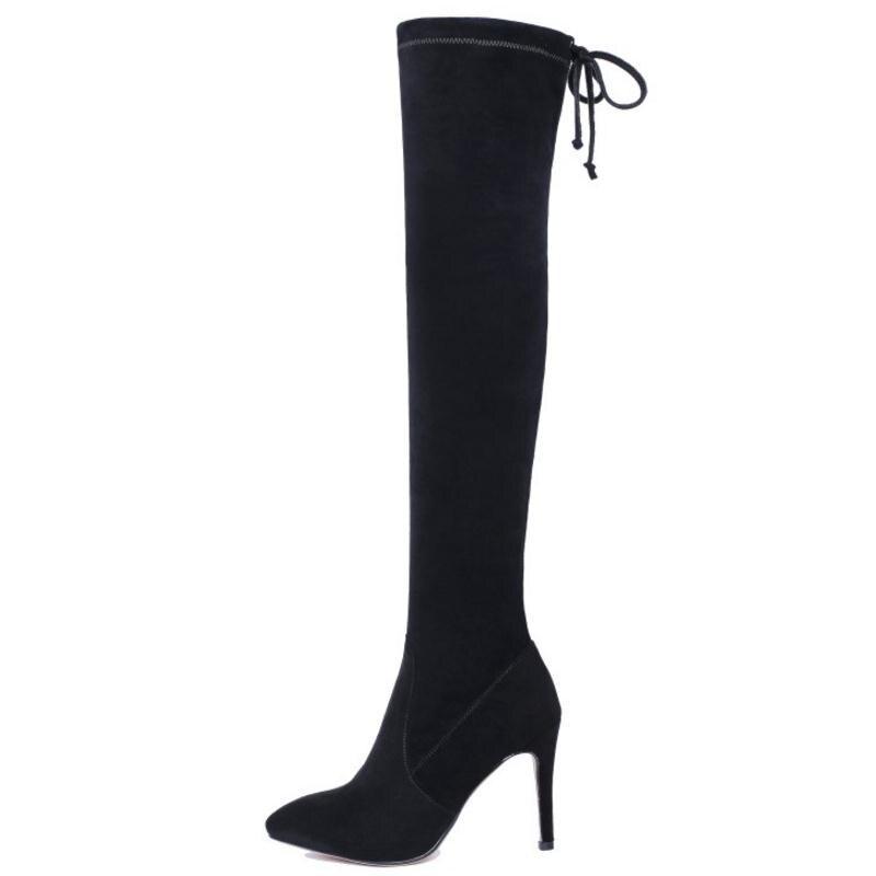 Tacón Mujer 48 Kemekiss Botas Delgada Alto Talón La Tamaño Invierno Rodilla Sobre Cuero Cremallera Zapatos 34 De Largas Señoras Genuino Negro EHwxFX4wfq