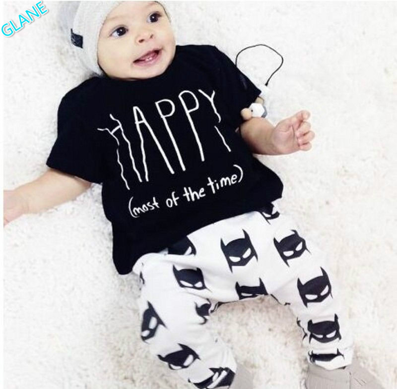 2016 New Happy Toddler Newborn Baby Boy Clothes T shirt Batman Pants Outfits Set 0~24Mths