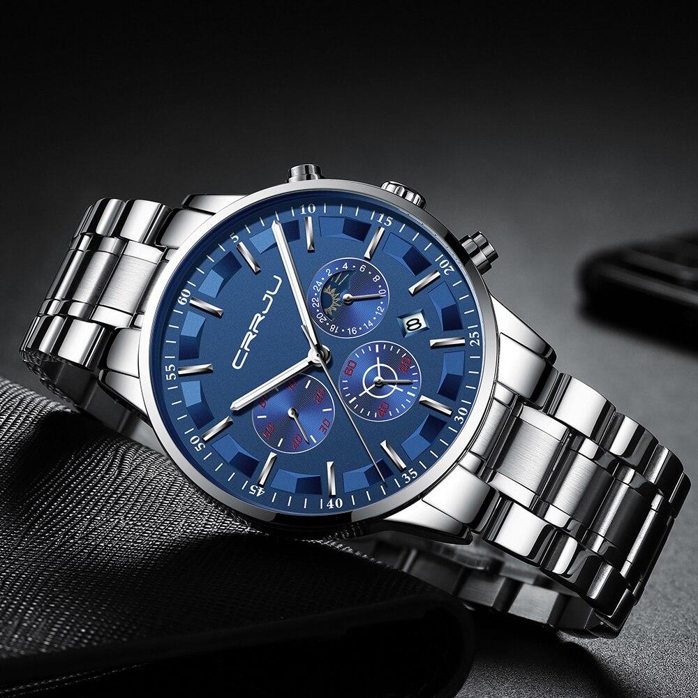 Mens Watches CRRJU Top Brand Luxury Sport Quartz All Steel Male Clock Military Camping Waterproof Chronograph Relogio Masculino