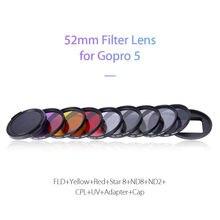 JUNESTAR Star8+ND8+ND2+CPL+UV for GoPro Hero 5 Sport Camera 4K 12MP Action Video 52mm 10PCS Lens Filter