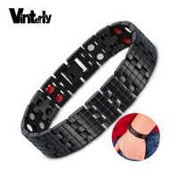 Vinterly Black Magnetic Bracelet Men Benefits Wide Health Energy Bracelet for Men Hand Chain Stainless Steel Bracelet Male