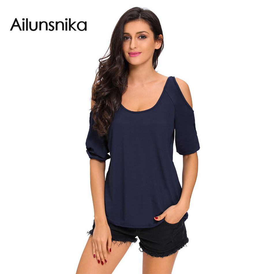 Ailunsnika 2017 Summer New High Quality Shirts Sexy Women Clothing ...