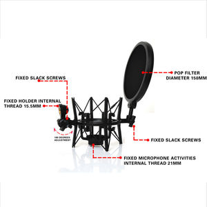 Image 5 - SH 100 Hot Sale Microphone Mic Professional Shock Mount with Pop Shield Filter Screen for long thread microphone