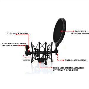 Image 5 - Sh 100 venda quente microfone microfone profissional montagem de choque com tela de filtro protetor pop para microfone de rosca longa