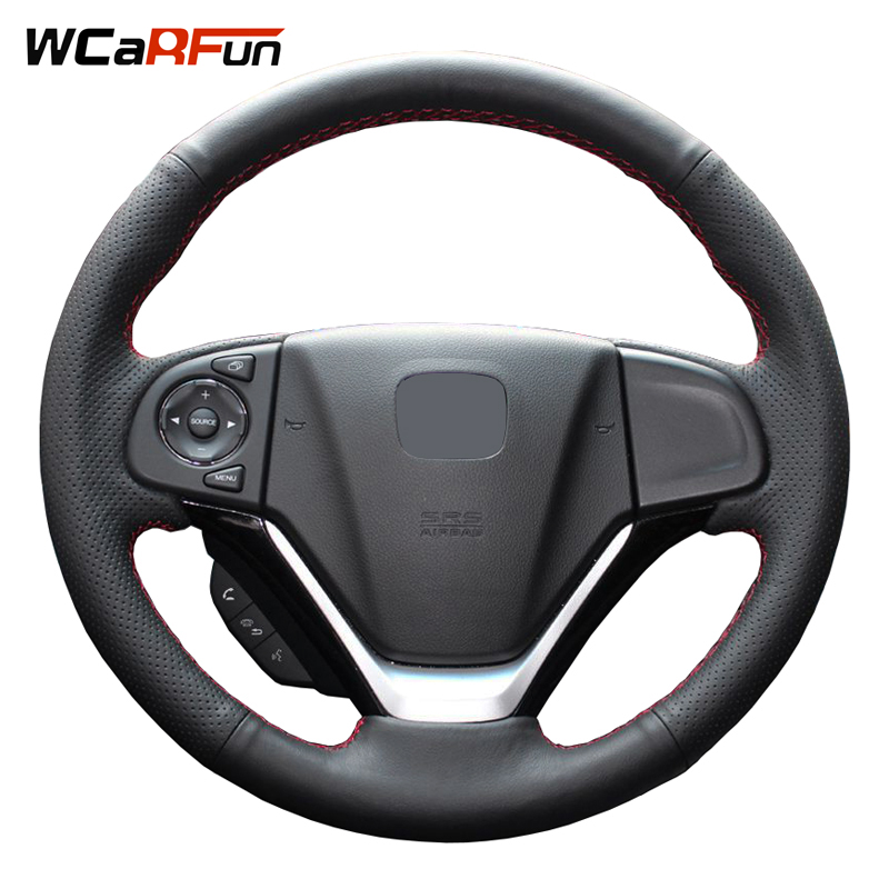 WCaRFun Hand-Stitched Black Artificial Leather Steering Wheel Car Steering Wheel Cover for Honda CRV 2012 -2014