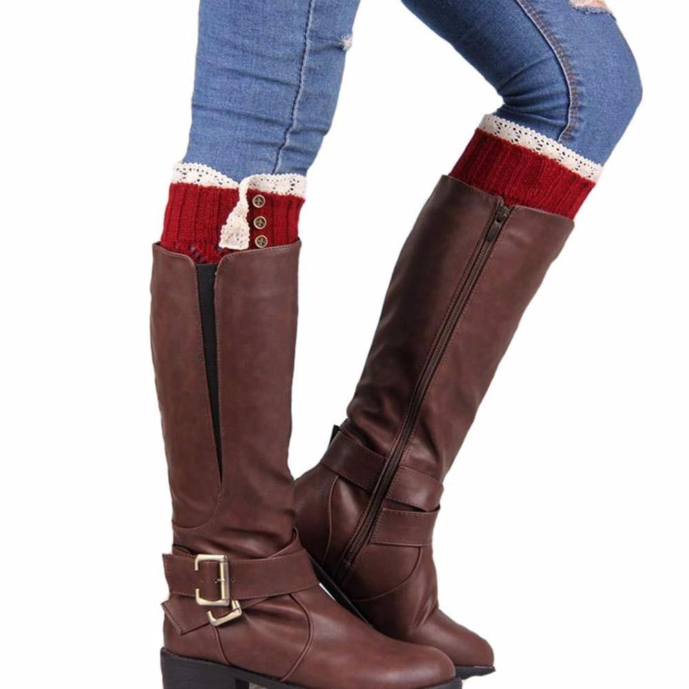 Feitong Women Lace Stretch Boot Leg Cuffs Boot Winter Leg Warmer Meias Femininas Solid color Cotton Knee Socks y#1