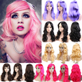 "19"" Long Curly Wavy Synthetic Wig Pink Purple Orange Blonde Red Full Head Wigs Cosplay Party Anime Show"