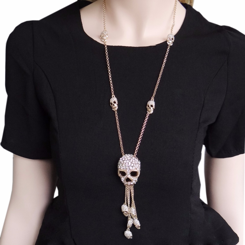 Bella Fashion Multi Skeleton Skull Tassel Pendant Necklace Austrian Crystal Rhinestone Long Chain Necklace For Halloween Party rhinestone eye pendant chain necklace