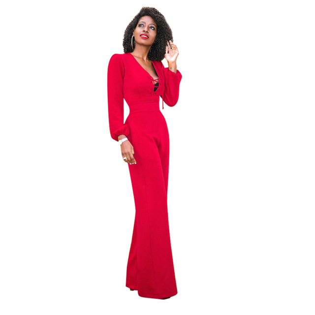Lace Up Wide Leg Jumpsuit Women Long Sleeve Loose Red One Piece