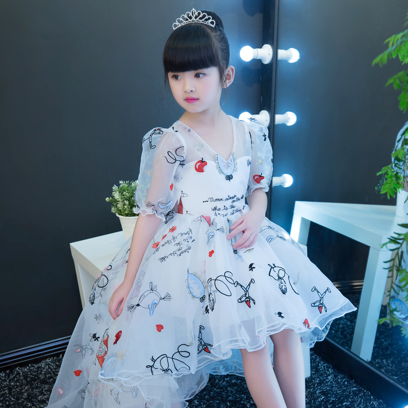 2017 Korean Lovely Children Girls Birthday Wedding Formal Party Princess Dress With Irregular Dress Cute Cartoon Patterns Dress 50pcs lovely shell place name cards wedding birthday party table setting decor