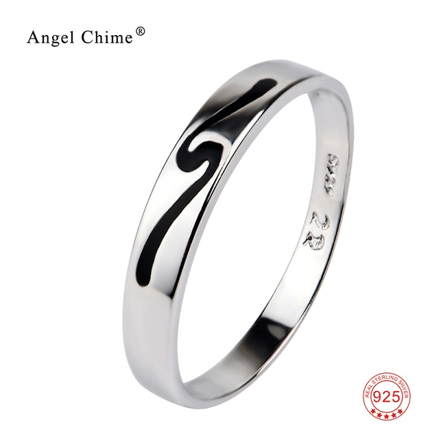 Simple Symbol Carved Silver Wedding Band Ring 925 Sterling Jewelry Rings Fashion For