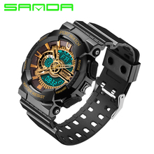 Fashion Men's Analog-Digital Dual Display Sports Watches Waterproof S-shock Electronic LED Luxury Watch Men Famous Brand SANDA