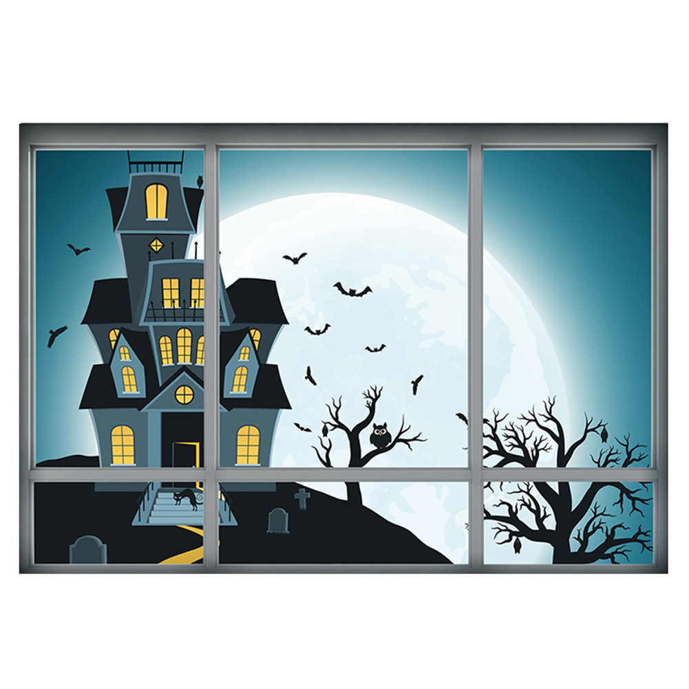 halloween decoration 3d fake window wall sticker halloween night haunted house home wall decor festival diy