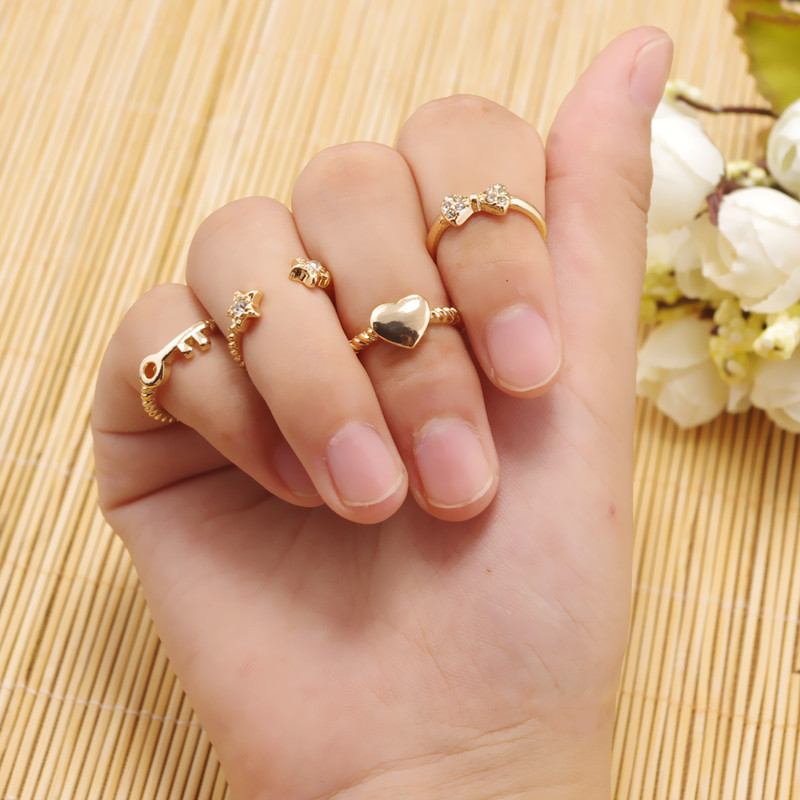 My Heart Love Bow Only Key Super Star Set Rings For Women Gold ...