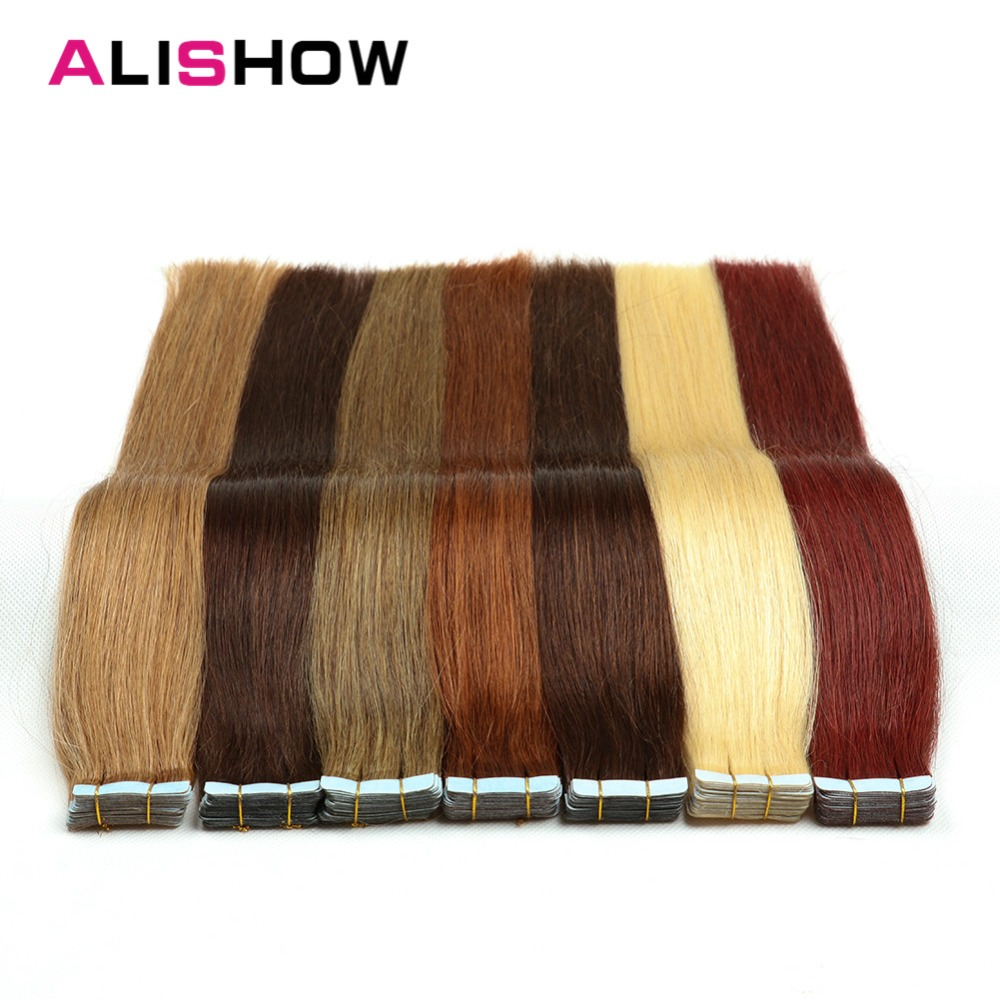 Alishow Tape In Human Hair Extensions Remy Hair 16inch-24inch 20pcs/pack Straight  PU Hair Natural Tape In Human Hair Skin Weft