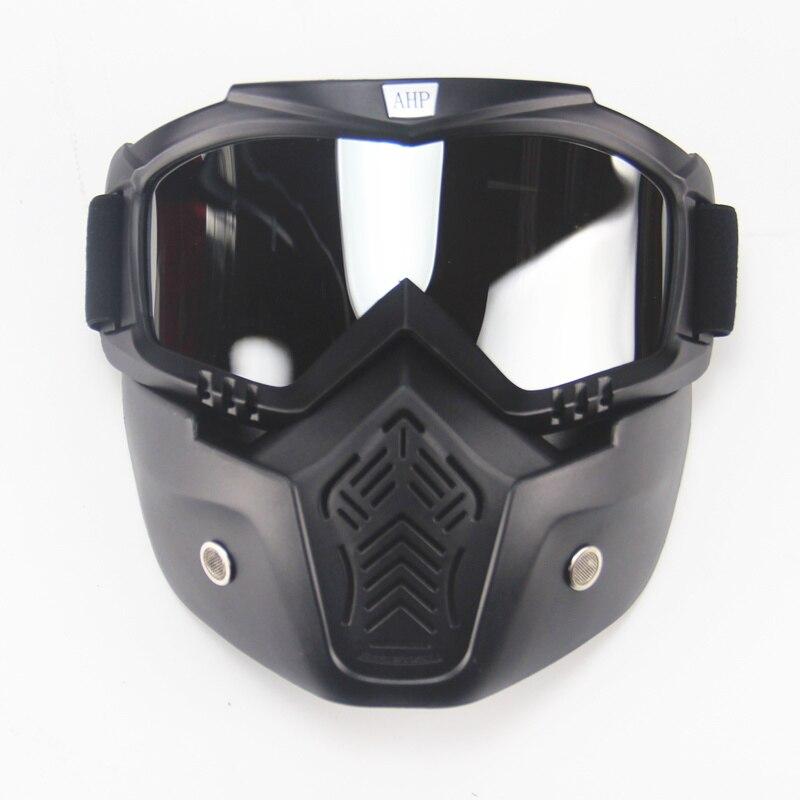 Ski vélo moto masque facial lunettes Motocross moto moteur visage ouvert détachable lunettes casques Vintage lunettes universel - 2