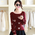 The new 2016 women sweater towel round collar short paragraph embroidered dot footprint long-sleeved sweater coat