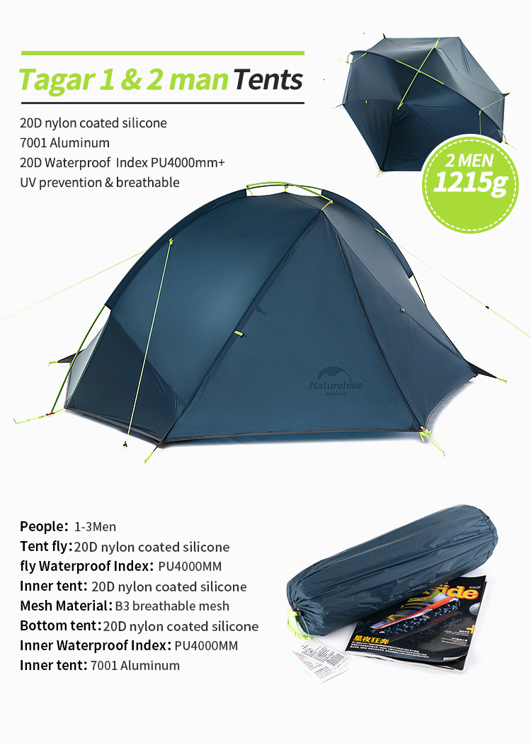 Naturehikeu0027s new Taga series ultralight tent is a backpackeru0027s dream come true. It doesnu0027t matter if youu0027re a thru-hiker on the Appalachian trail or c&ing ...  sc 1 st  AliExpress.com & Naturehike 20D Nylon Taga Outdoor Camping Tent Ultralight One ...