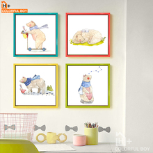 COLORFULBOY Modern Wall Art Canvas Posters And Prints Watercolor Happy Bear Painting Christmas Decorations For Kids Room