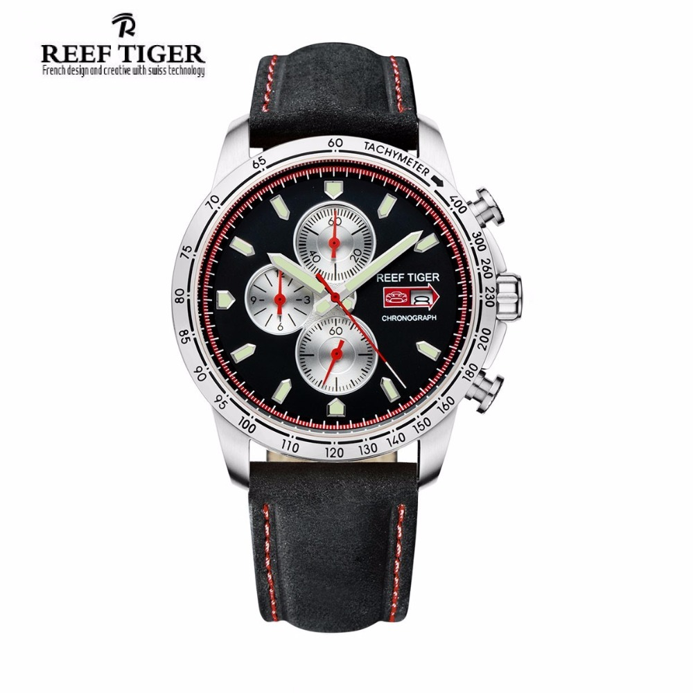 Reef Tiger/RT Men's Sport Watch with Chronograph Date Luminous Black Dial Stainless Steel Watch Brown Leather Band RGA3029 2017 reef tiger rt mens designer chronograph watch with date calfskin nylon strap luminous sport watch rga3033