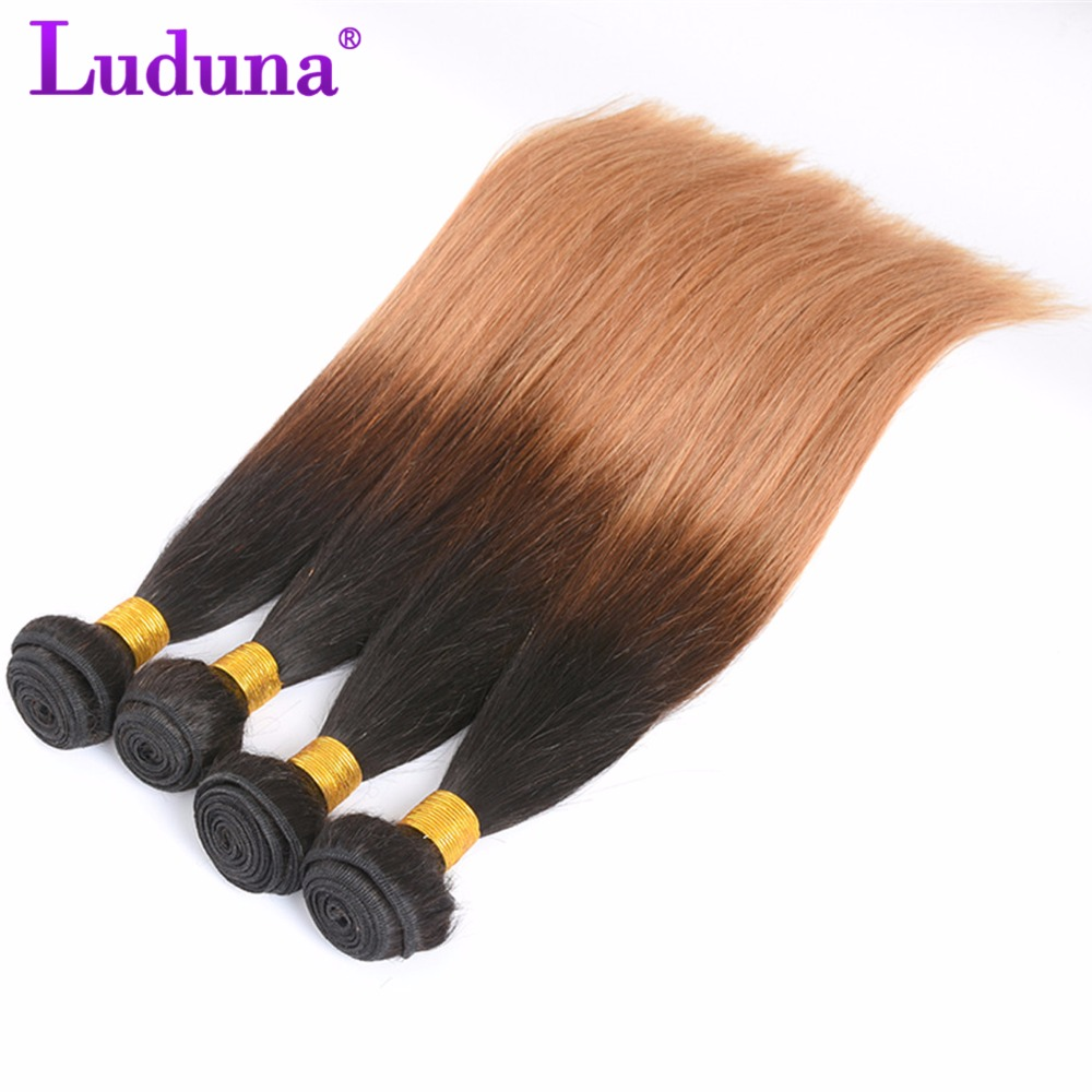 Luduna Ombre Human Hair Brazilian Straight Hair Weave Bundles #1B/27 Two Tone Color Ombre Non-Remy Hair Extensions 8-28Inch