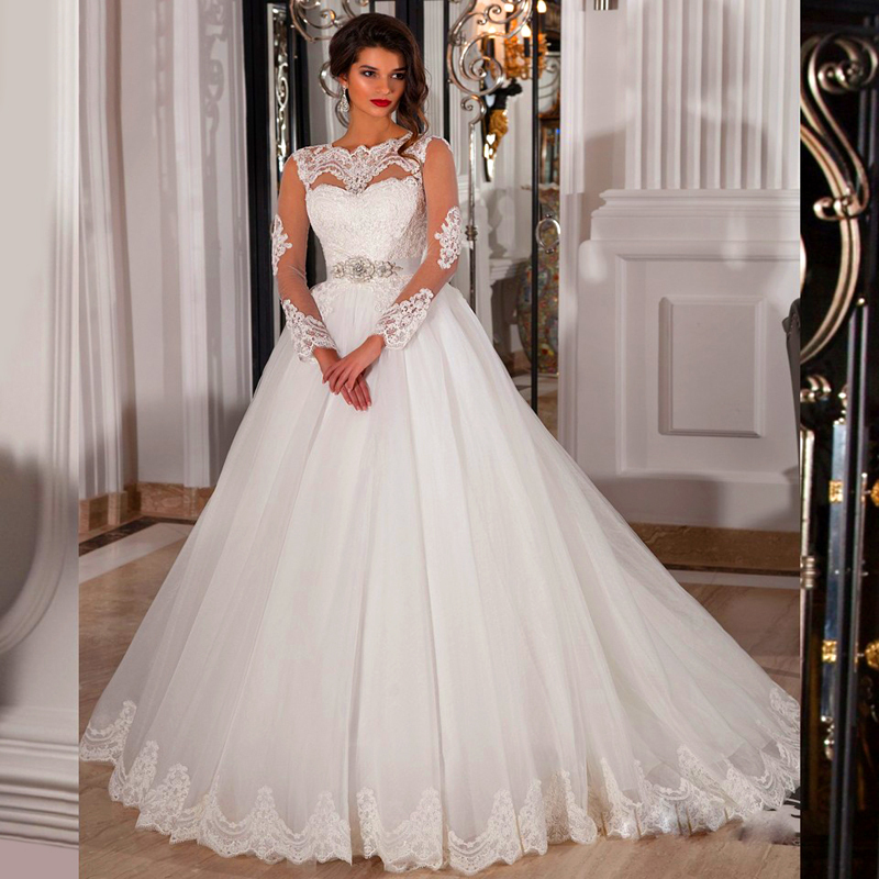 New Fashion Ball Gown Wedding Dresses 2016 Couture Lace Long Sleeve Dress With Illusion Zipper Back Yy292 In From Weddings