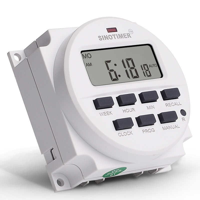 220V AC 1 deuxième intervalle Super grand 1.6 pouces affichage 7 jours Programmable numérique minuterie relais tension sortie minuterie commutateur