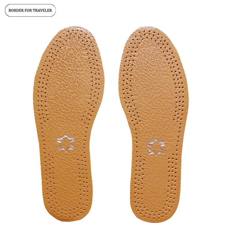 BORDER FOR TRAVELER Unisex Insoles Sports insoles Leather Shoe Pads Antiperspirant Breathable Sweat Absorbing Summer Thin Insole