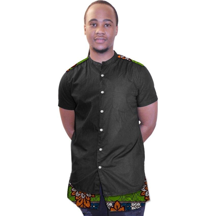 Африканский принт мужские dashiki рубашки пользовательские африканских черная хлопковая ткань простой Сращивание рубашка мужская с коротким ...