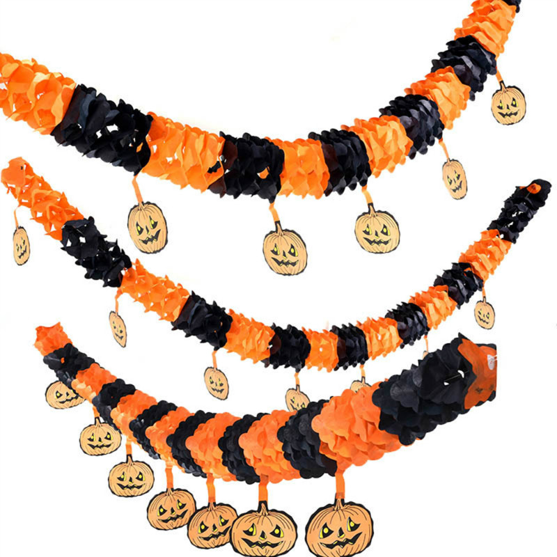 fashion home decor lengthen paper chain garland pumpkin halloween decorations ornament party props outdoor pull flowers - Paper Halloween Decorations
