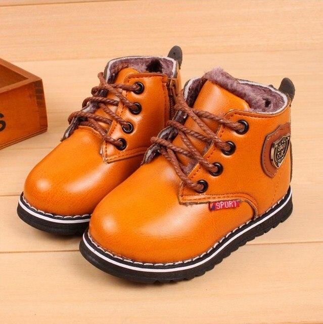 05249590 Más nuevos cabritos invierno nieve botas moda niñas zapatos calientes Soft  PU de cuero niños Sneakers