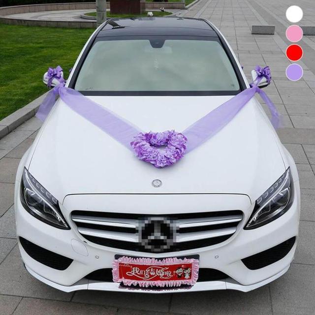 Herz Hochzeit Auto Dekoration Set Künstliche Blumen Silk Pompoms