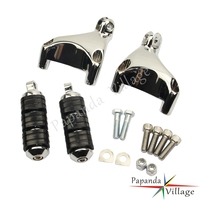 Chrome Black Motorcycles Passenger Rear Foot Pegs Footrests Mount for Harley Custom Sportster XL883 1200 2004 2013