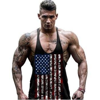 Hot Sale Men's American Flag Design Stringer Singlets Cotton Gyms Tank Tops Muscular Fitness Bodybuilding Tank Top Skull Vest цена 2017