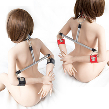 Leather Wrist Ankle Cuffs Handcuffs Set Spreader Rod Stainless Steel Sports Training BDSM Bondage Restraints Adult Game Sex Toys brand new sponge collar handcuffs metal stainless steel spreader bar bondage necklace wrist cuffs shackles adult games