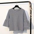 2017 verão new arrival moda feminina listrada camisetas base casual camisetas de algodão o-pescoço de três quartos manga flare preto tops