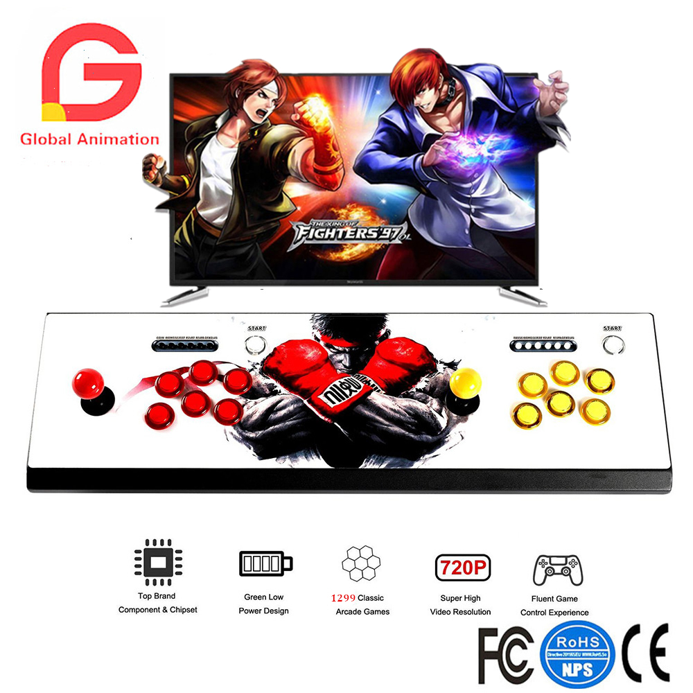 Game Box 5 LED Arcade Game Console 1299 Games 2 Player Metal Arcade Video Game Machine with 1280x720 Full HD HDMI VGA Output
