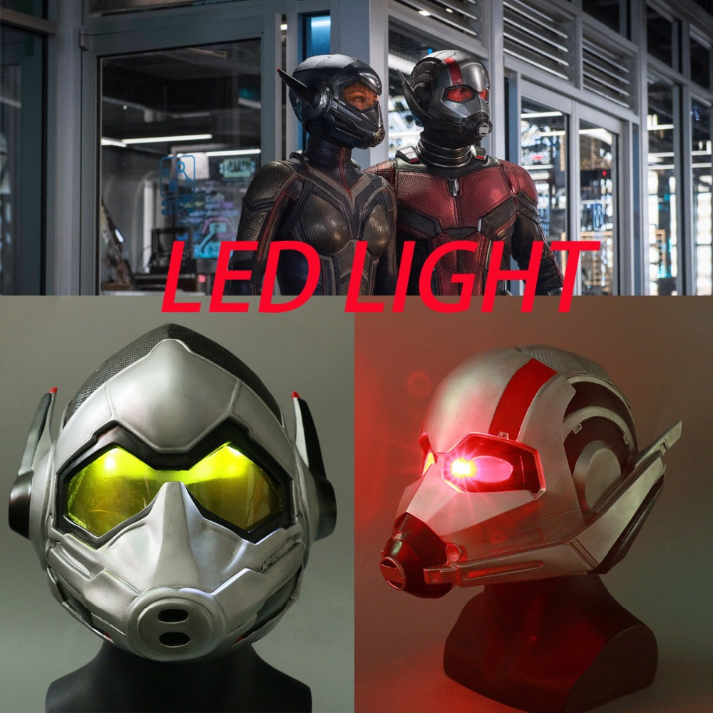 2018 Ant Man LED Helmet Cosplay Ant-Man and The Wasp Scott Helmet Superhero Prop Halloween Party
