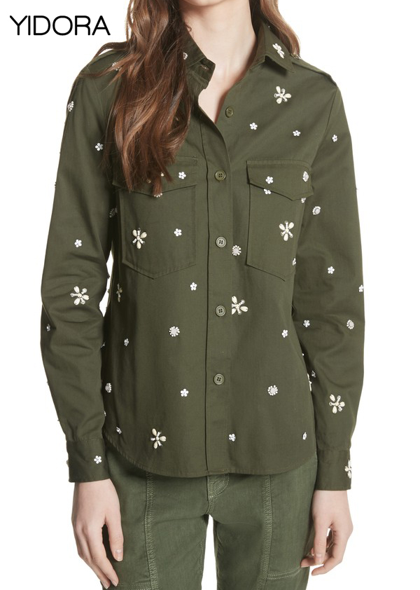 Limited Edition 2018 Embellished Shirt - Floral Sequins Military-inspired Button-down Shirt-jacket With Chest Flap-patch Pockets