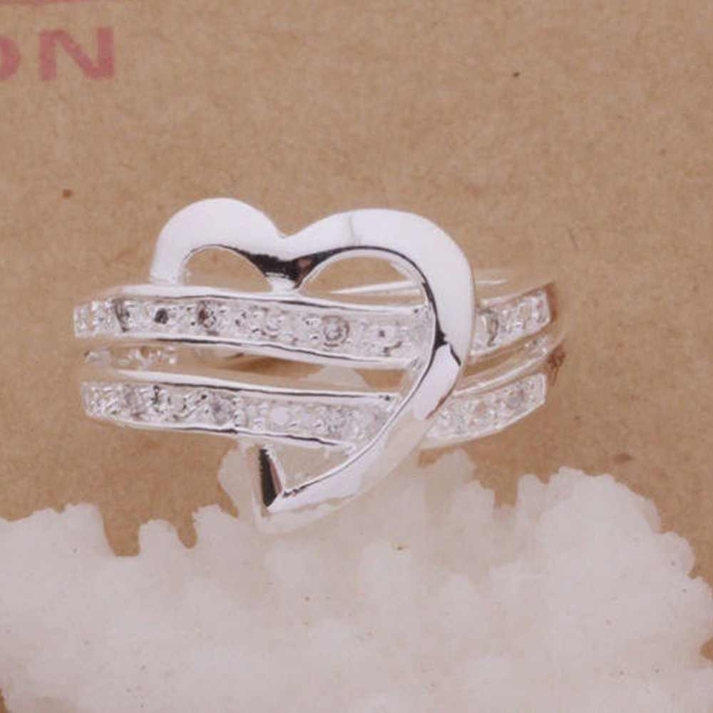 Moda feminina anéis metade em forma de coração duplo strass coração amor feminino anel de casamento tamanho 5 6 7 8 9 10 11 anel presente #289241